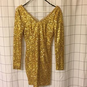 Sparkly Gold Mini Dress with Long Sleeves